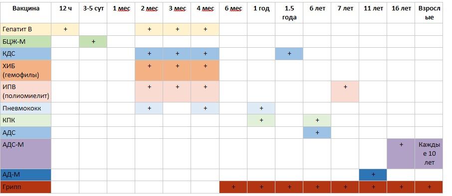 Календарь прививок РБ  2018